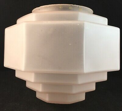Pink Art Deco Geometrical Stepped Glass Light Shade Suit Diana Lamp
