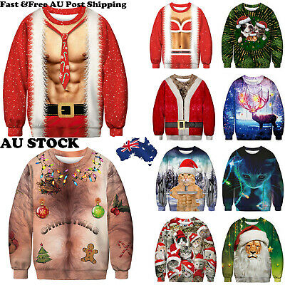 New Unisex Ugly Christmas 3D Sweater Santa Women Men Jumper Sweatshirt Tee Tops