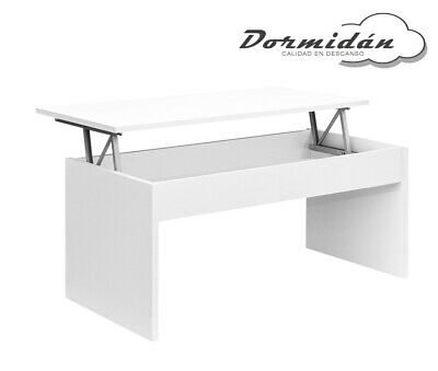 Mesa de centro elevable MC-5 Blanco, salon / comedor, mayor grosor y estabilidad