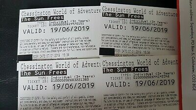 4 x Tickets Chessington World of Adventures Wednesday 19th June Theme Park