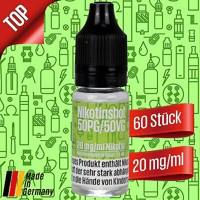 60 x 10ml Nikotin Shot - 60 Shots mit 20mg/ml Nikotinshots Basis Base e-Liquid