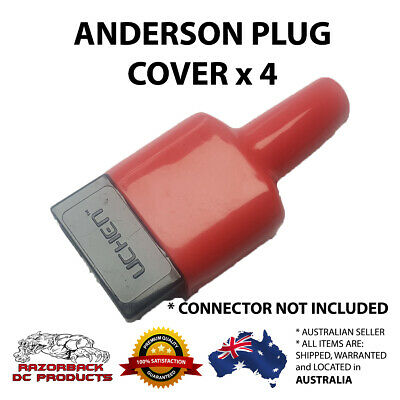 4x Weatherproof Anderson Style 50A Plug dust cable sheath cover RED 50A / 50 AMP