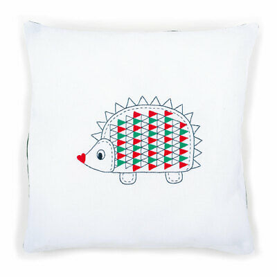 Vervaco Embroidery Kit Cushion   Hedgehog on White   Size 40 x 40cm