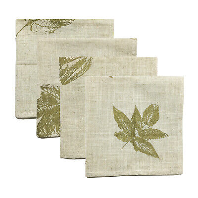 Thanksgiving Tableware Set of 4 Ivory Printed Fall Leaves Napkins 18-Inch #5702