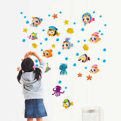for Bedroom Decor Under Seabed Wall Decal Cartoon Waterproof Removable Sticker