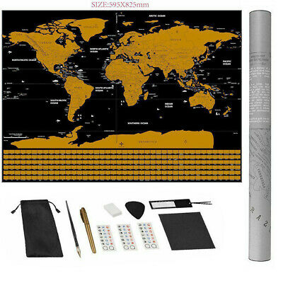 Large Size Travel Tracker Large Scratch Off World Map UK States Country Flags