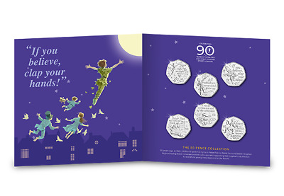 2019 PETER PAN 50p 6 COIN COMPLETE SET 90th ANNIVERSARY PACKAGING