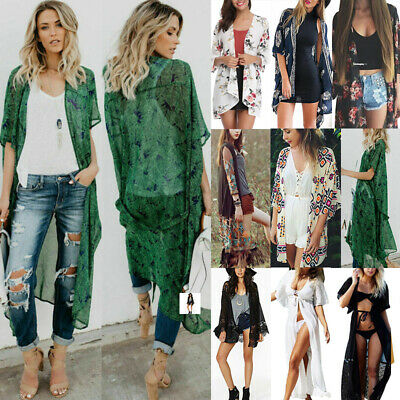 Women Boho Beach Cover Up Lace Floral Cardigan Kimono Chiffon Coat Blouse Jacket