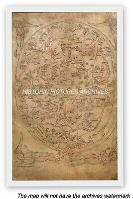 Historic Sawley World Map 1200 Ad Hardback Precursor Of The Hereford Mappa Mundi