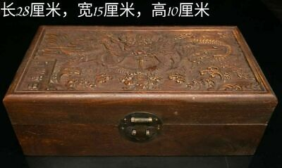 """11"""" Chinese old Antique wood handcarved dragon box and with jade Bracelet Pair d"""