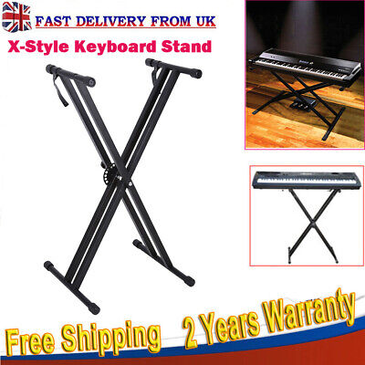 Portable  Height Adjustable Double Braced X Frame Music Piano Keyboard Stand UK