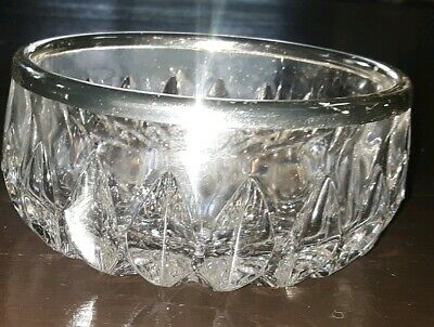 VINTAGE Crystal Heavy Cut Glass Candy Dish with Silver Trim