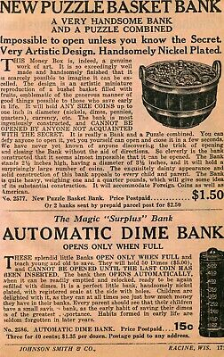 1934 small Print Ad of Puzzle Basket Bank & Magic Surplus Automatic Dime Bank