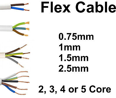 White Round Flexible Flex Cable 2 3 4 5 Core 0.75mm 1mm 1.5mm 2.5mm Electric