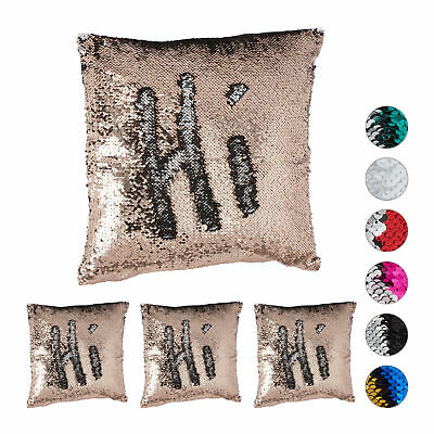 4 x Sequined Pillowcase, Decorative Cushion Cover 40 x 40 cm, Champagne-Silver