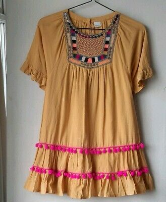 Kids Girls dress top Next short sleeve yellow embroidered cotton age 9