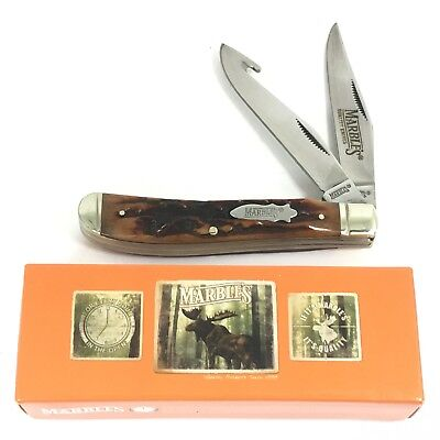 Marbles Liner Lock Gut Hook Trapper Knife Stag Cut BONE + Box 1611-LO