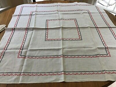 Vintage White, Black & Red Cross Stitch Bridge Cloth & Napkins