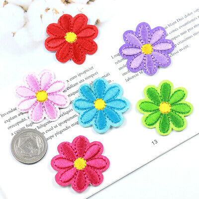 6Pcs Rainbow Daisy Flower Embroidery Patch Iron on Applique Sewing Fabric DIY