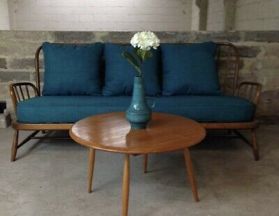 Vintage Blonde Ercol Jubilee 3 Seater Sofa Settee & Cushions Retro Delivery