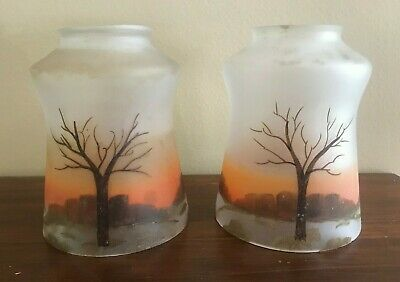 2 VTG Hand Painted Trees Frosted Glass Globes Light Fixture Lamp Shades
