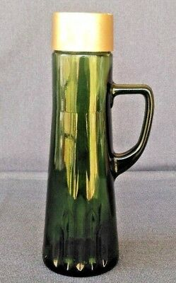 Vintage Owens-Illinois Glass ~ Green Glass Liquor Decanter Bottle With Handle