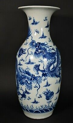 Large Blue & White Porcelain Dragon Vsae - China  20 Century