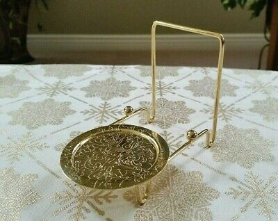 SET OF (4) Gold Toned Teacup and Saucer Holders - Stands - Easels