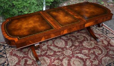 1910 Antique Weiman English Regency Mahogany Leather top Extending Coffee table