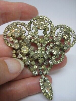 Antique Vintage Silver Tone Rhinestone Art Deco Large Brooch Pin