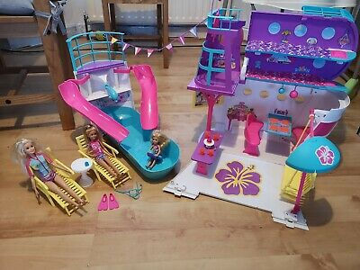 Barbie sisters pink passport cruise ship with dolls Chelsea stacie playset
