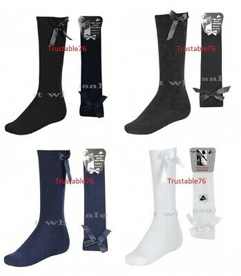 Girls Plain Knee High Socks With Bow School Uniform Socks Black White Navy Grey