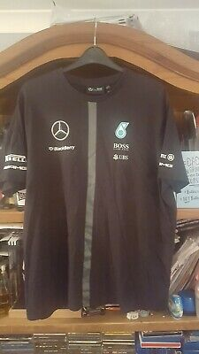 Mercedes AMG F1 Team Lewis Hamilton T Shirt Tee BLACK Mens – OFFICIAL