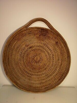 "Round Wicker Rattan Handled 23"" Serving Tray Boho Display Kitsch Vintage"