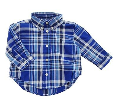 RALPH LAUREN baby boy LS SHIRT blue plaid check 0/3M (60cm) BNWT