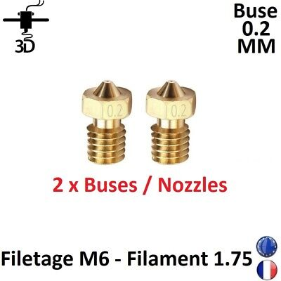 2 x Buse 0.2 mm Nozzle M6, Filament 1.75mm Extrudeur V5,V6 Imprimante 3D Printer