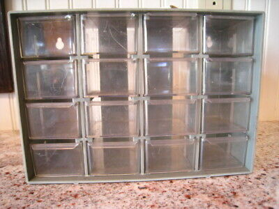Vintage Plastic Cabinet Small Parts Tool 16 Drawers Hobby Shop Screws Nuts