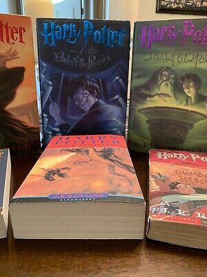 LOT OF 5 HARRY POTTER BOOKS BY J.K. ROWLING 3 PAPERBACKS 2 HARDCOVERS UK British