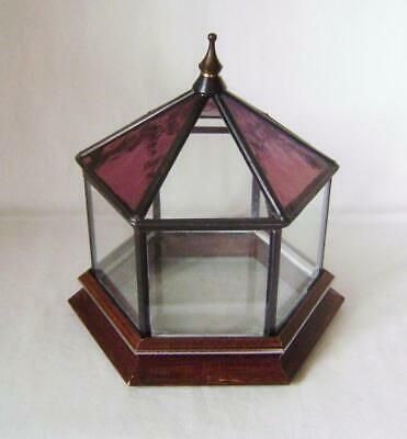 Beautiful Leaded Stained Glass Terrarium / Box Hexagonal Shape with Wood Stand