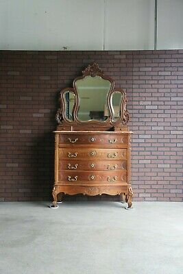 Antique French Rococo Marble Top Dresser and Mirror ~ Louis XV Dresser