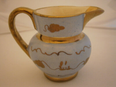 Small Cream Milk Pitcher Light Blue Gold Paint Grapes Hand Painted Vtg Antique