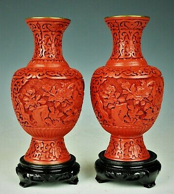 Rare Vintage Chinese Pair Of Cinnabar Hand Carved Vases 20Th Century