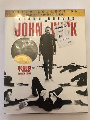 NEW John Wick 2 Film Collection 1 & 2 Blu Ray & DVD Includes 2 Replica Coins