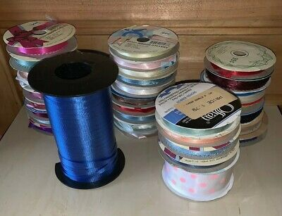Rolls of Ribbon Craft Satin Curling 32 Mixed Roll Lot New/Used