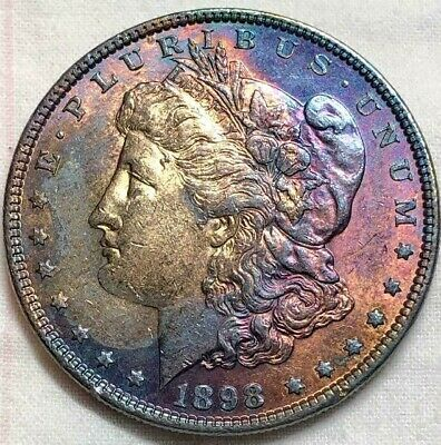 1898 Morgan Silver Dollar $1 AU * About Uncirculated Amber to Indigo Toned NORES