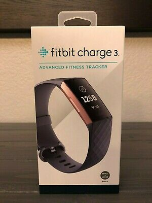 Brand New Fitbit Charge 3 Activity Tracker - Blue Gray/ Rose Gold Aluminum