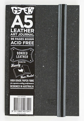 GEEK: A5 Leather Art Journal 96pg ACID Free Bonded Leather - Slate Grey