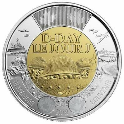2019 CANADA 🍁 D-Day $2 Dollar Coin - NON-Colored Version; BU from roll;🍁