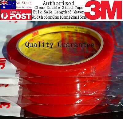 AU Transparent Genuine 3M Double Sided Roll Clear Tape Sticky 6mm 8mm 10mm 15mm