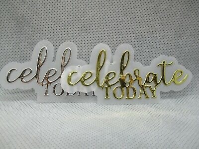 6 Celebrate Today Sentiment Die Cuts....gold Or Silver...vellum Mat...cardmaking
